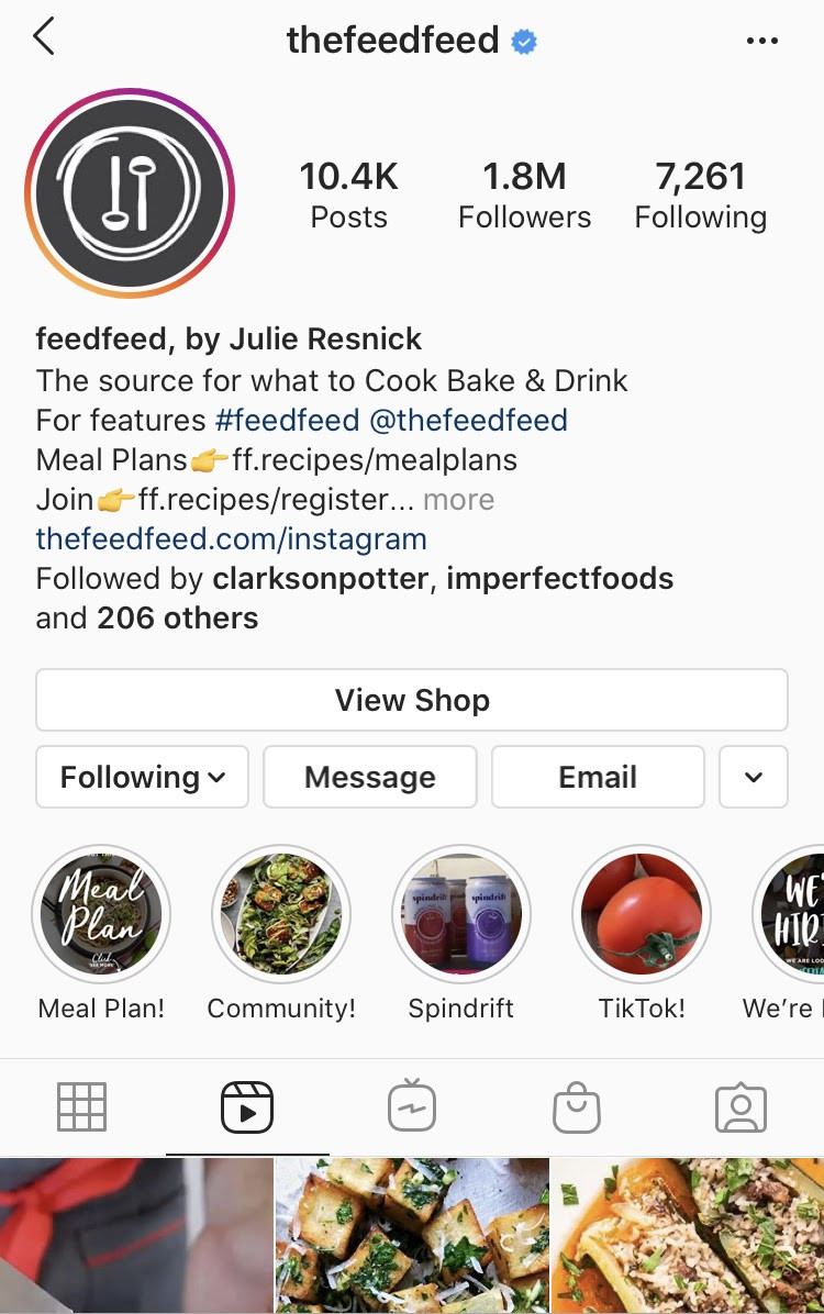 @thefeedfeed Instagram account