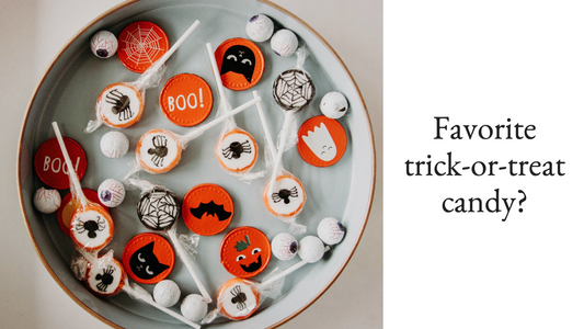 Halloween candy post template for social media with orange, white, and black candies and spiders, black cats, and ghosts