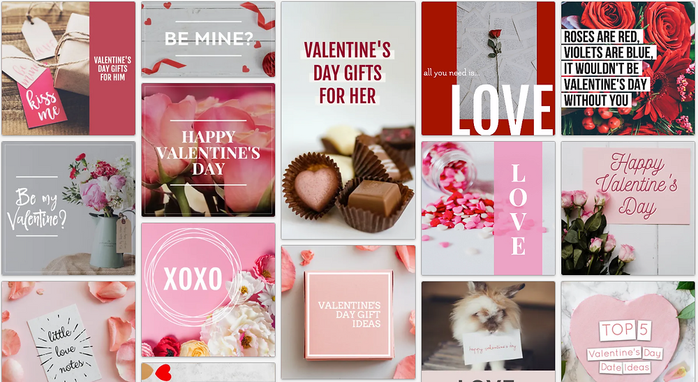Valentines day social media posts in red, pink, and white.