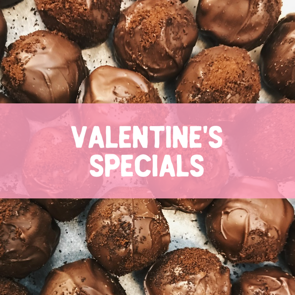 Valentine's Day chocolates social media post template with pink and white design