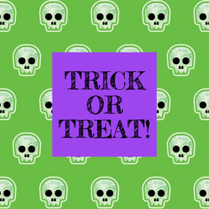 Purple and green Halloween trick or treat social media post template with skulls