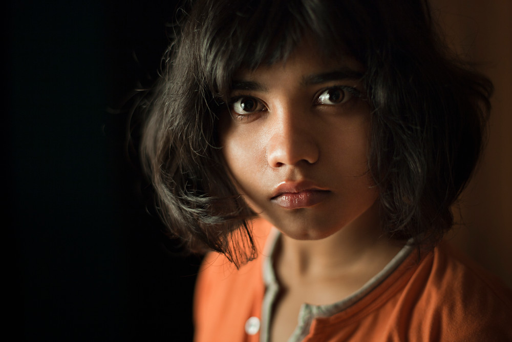 Young Indian girl, solemn