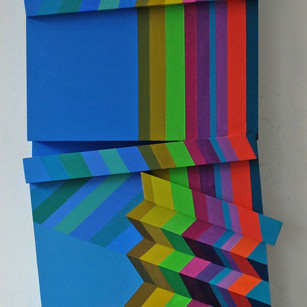 Fractured Stripes 2 - 63x33x6cm - Acrylic on Wood