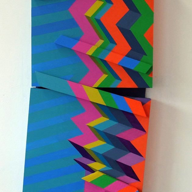 Fractured Stripes 3 - 63x33x6cm - Acrylic on Wood