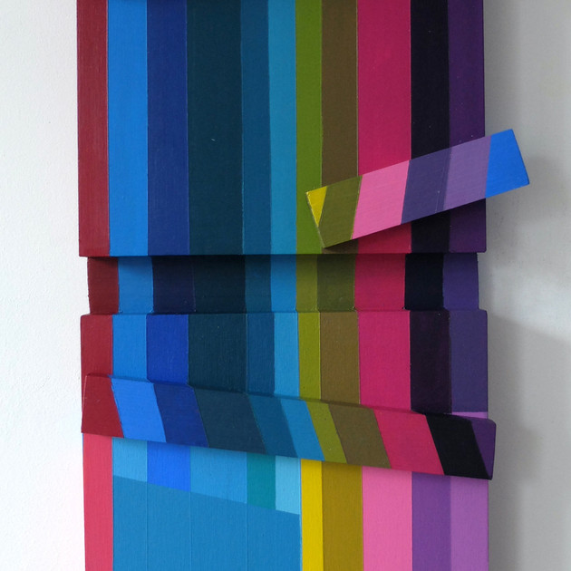 Fractured Stripes 1 - 56x28x8cm - Acrylic on Wood