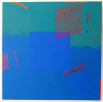 Blue Square 2 90x90cm acrylic on canvas.