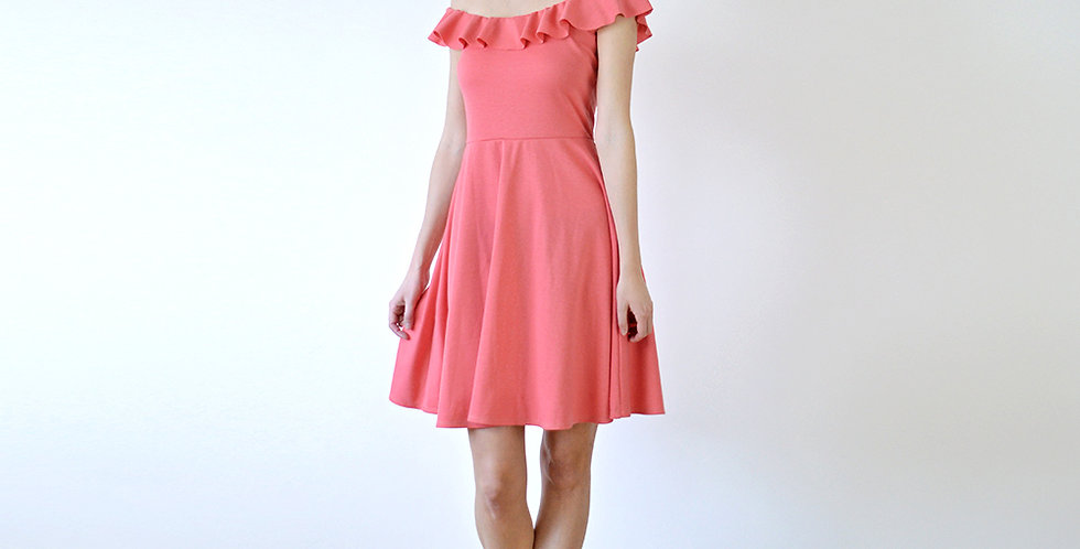 Pink off shoulder ruffle dress full front view