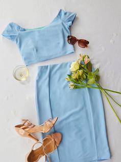 Audrey Pastel Blue Two Piece Dress