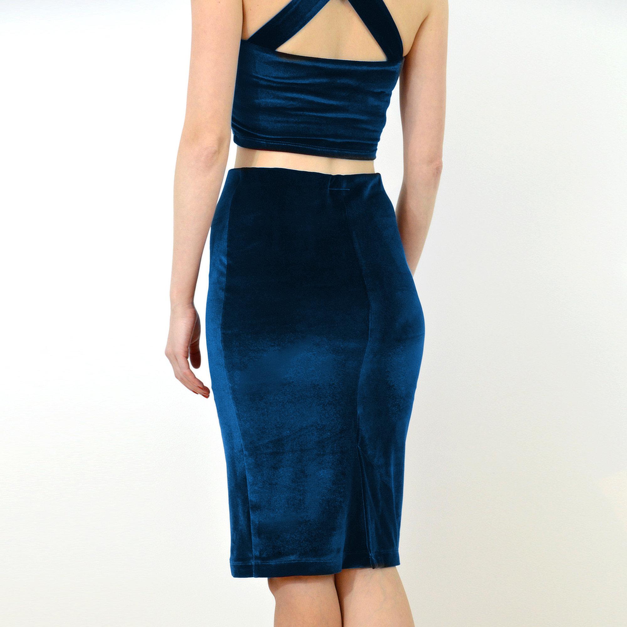 Pencil Skirt High Waist Velvet Skirt In Navy Blue Stylecamp