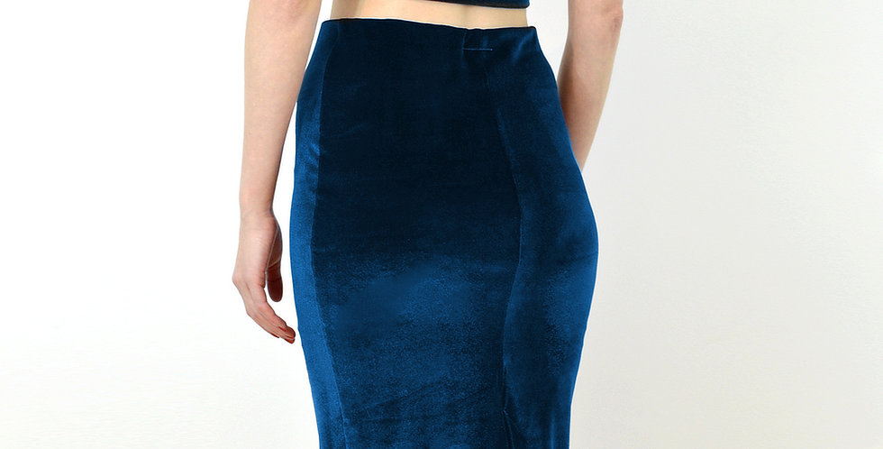 High Waist Velvet Skirt in Navy Blue