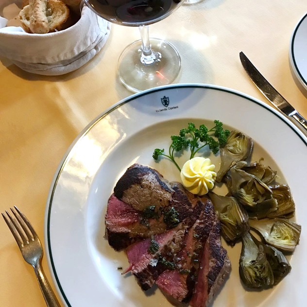 Lemon and thyme steak with artichokes