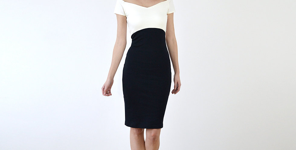 Bardot Off Shoulder Two-Tone Bodycon Dress full front view
