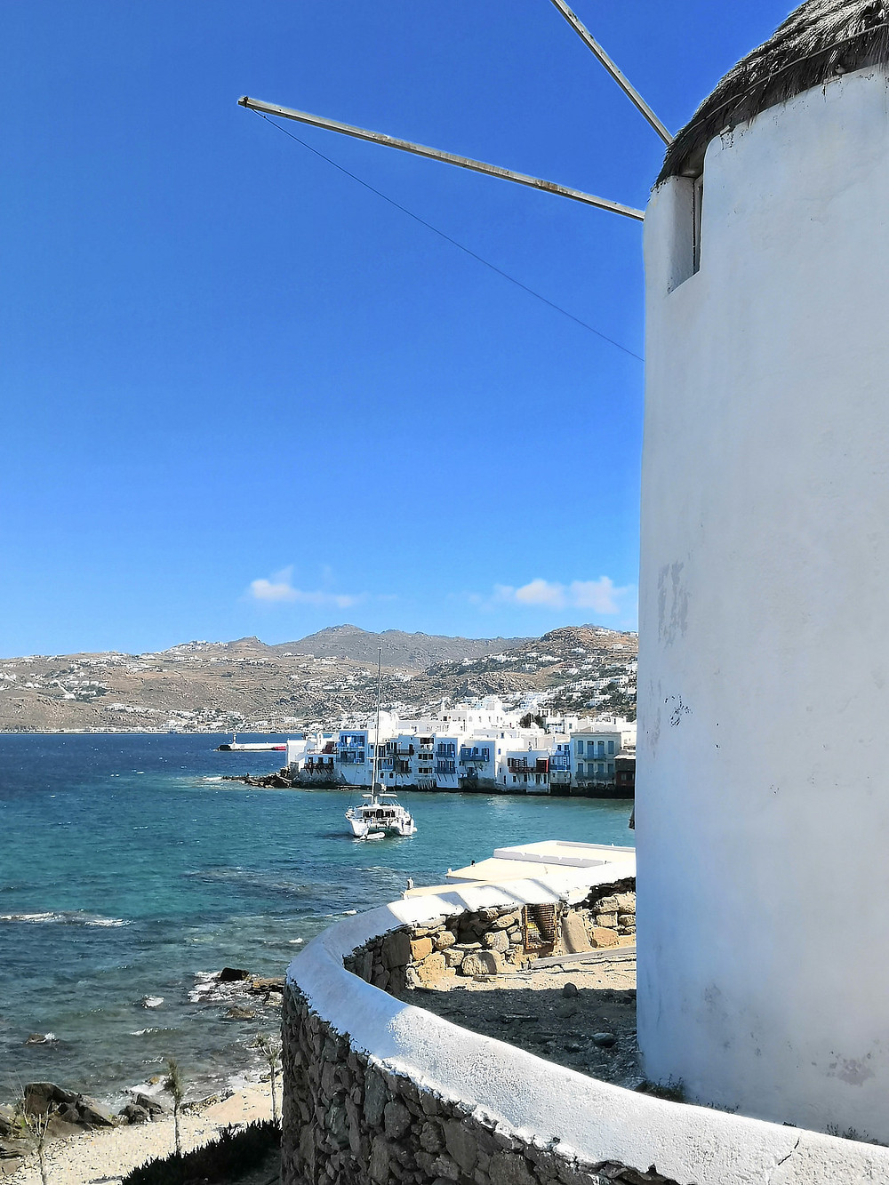 Little Venice and windmills in Mykonos town