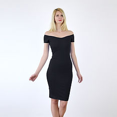 Black off shoulder pencil dress