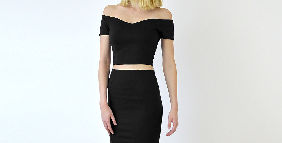 Audrey Two Piece Dress Set in Black front view