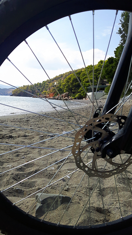 Cycling to Monastiri beach in Poros