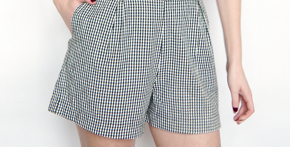 Organic Cotton High Waisted Gingham Shorts