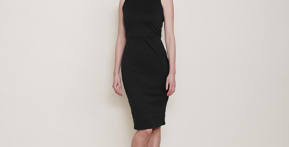 Marilyn Classic Scoop Neck Bodycon Dress in Black