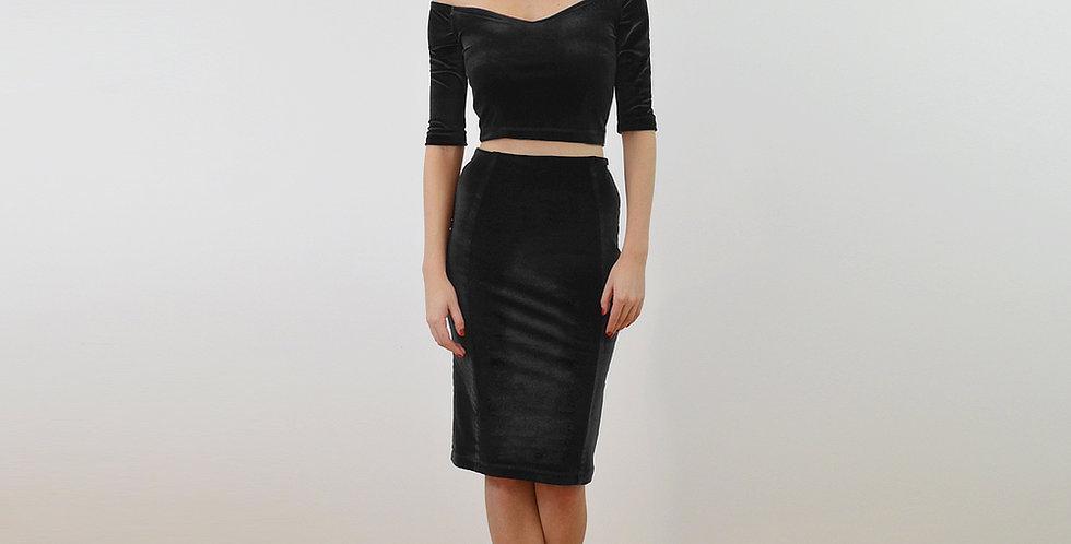 AUDREY | Black Velvet Off Shoulder Crop Top and Pencil Skirt Co-Ords Set