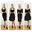 Thumbnail: AUDREY | Black Velvet Off Shoulder Crop Top and Pencil Skirt Co-Ords Set