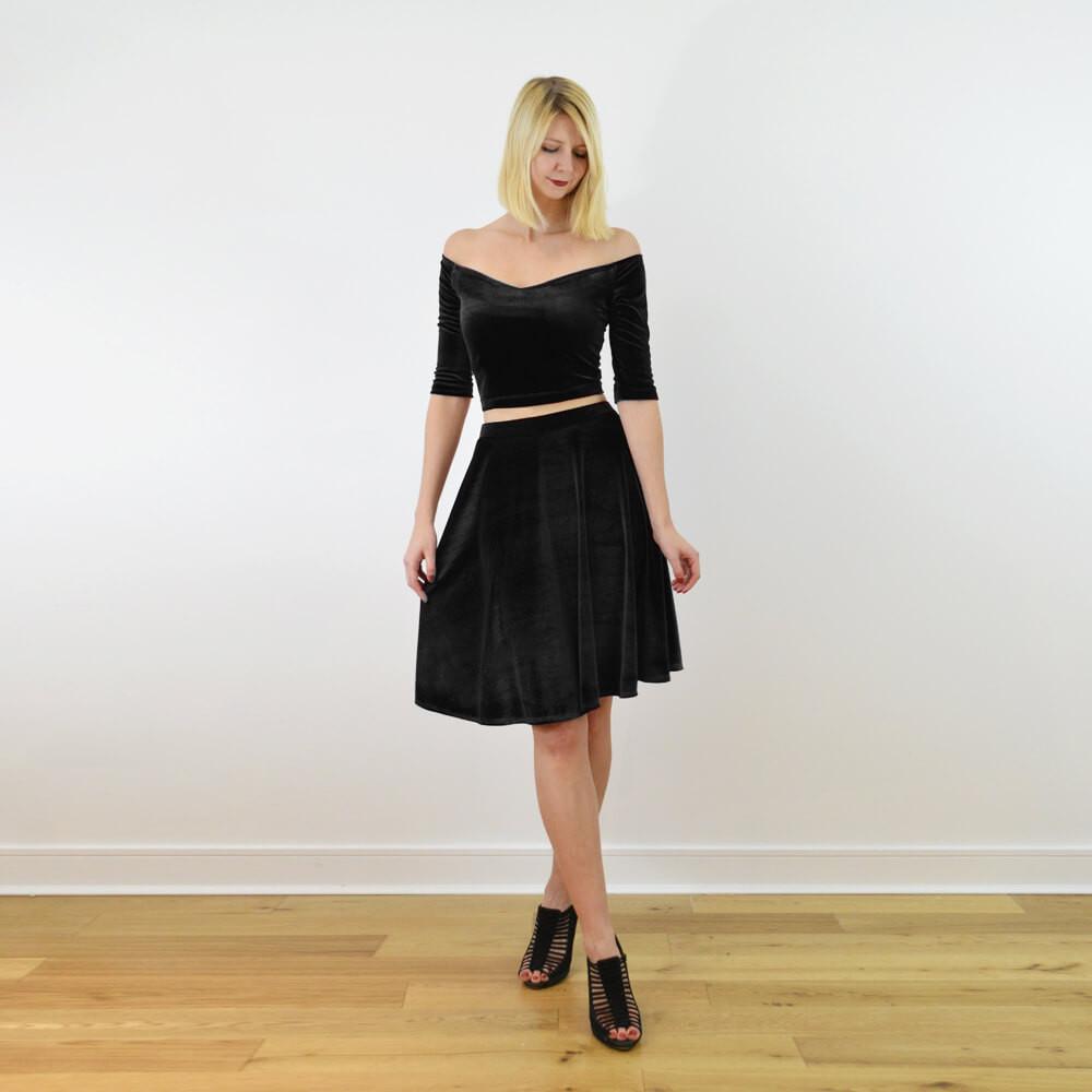 Coco black velvet crop top and skater skirt set