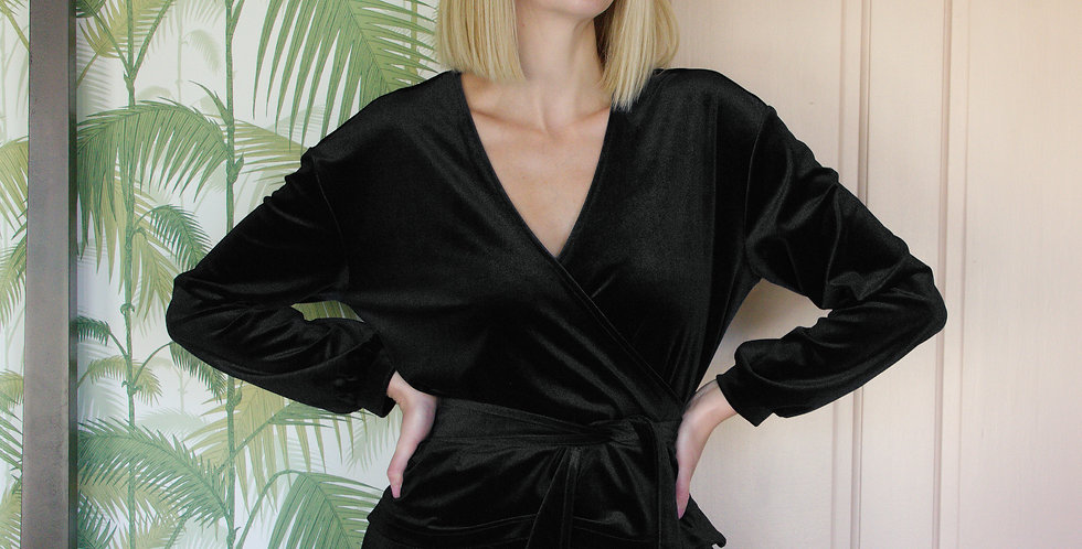 MYRNA | Black Velvet Wrap Loungewear Top
