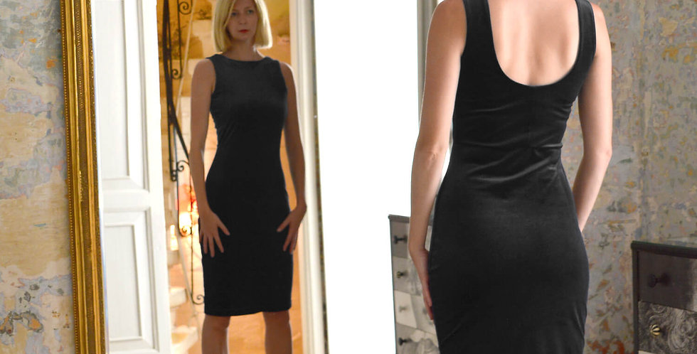 Marilyn Black Velvet Cocktail Dress