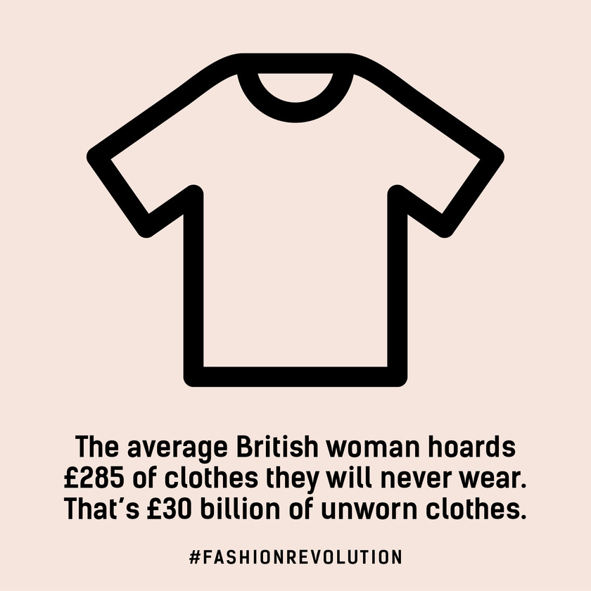 The average British woman hoards £285 of clothing they will never wear.  That's £30 billion of unworn clothes