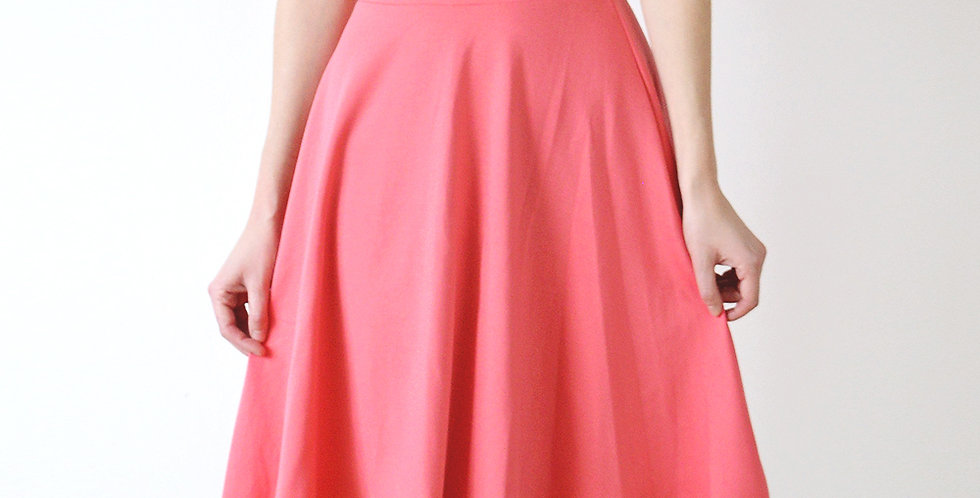Swishy Stretch Jersey Skater Skirt in Coral Pink front view