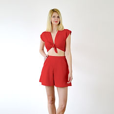Red tie up top and culottes shorts
