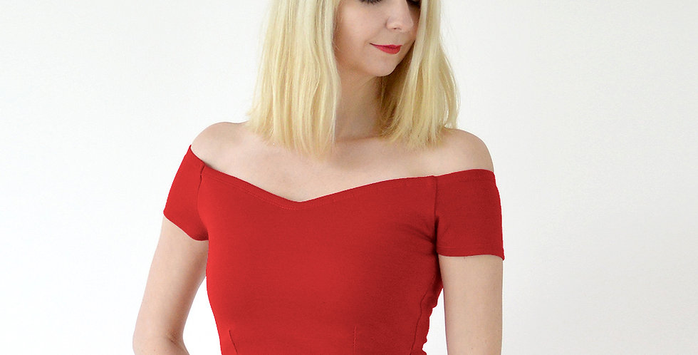 Off the Shoulder Jersey Crop Top in Red front view
