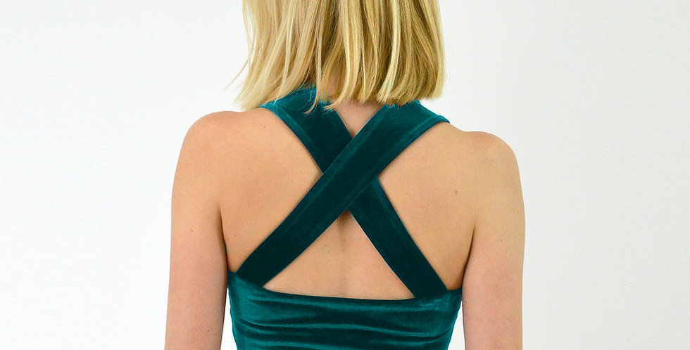 Strappy Sweetheart Crop Top in Green Velvet