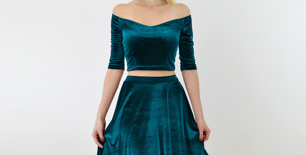 Coco Teal Blue Velour/Velvet Off Shoulder Top and High Waist Skater Skirt Set close up front view