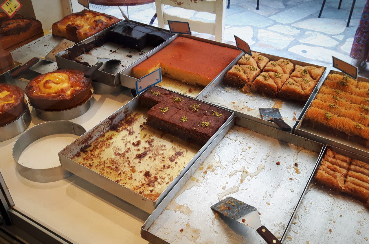 Everything from lemon sponge, walnut cakes and baklava, absolutely soaked in syrup