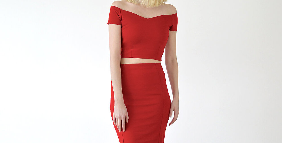 Audrey Crop Top Two Piece Dress Set in Red front view