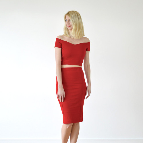 67f6d10338 Audrey Pencil Skirt and Crop Top Two Piece Dress Set in Red