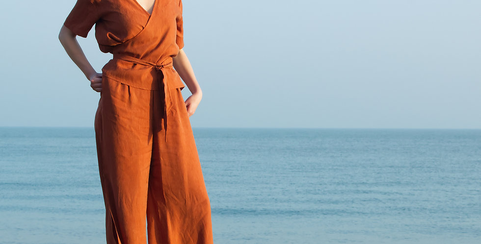 CO-ORDS   Silky Cupro Wrap Top and Trousers Set in Burnt Orange