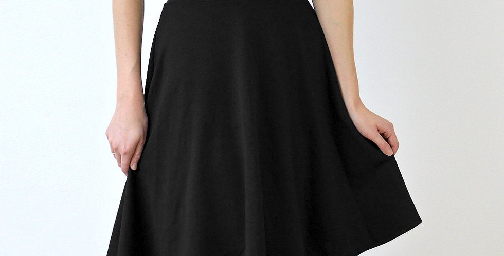 Vintage Style High Waist Flared Skater Skirt in Black front view