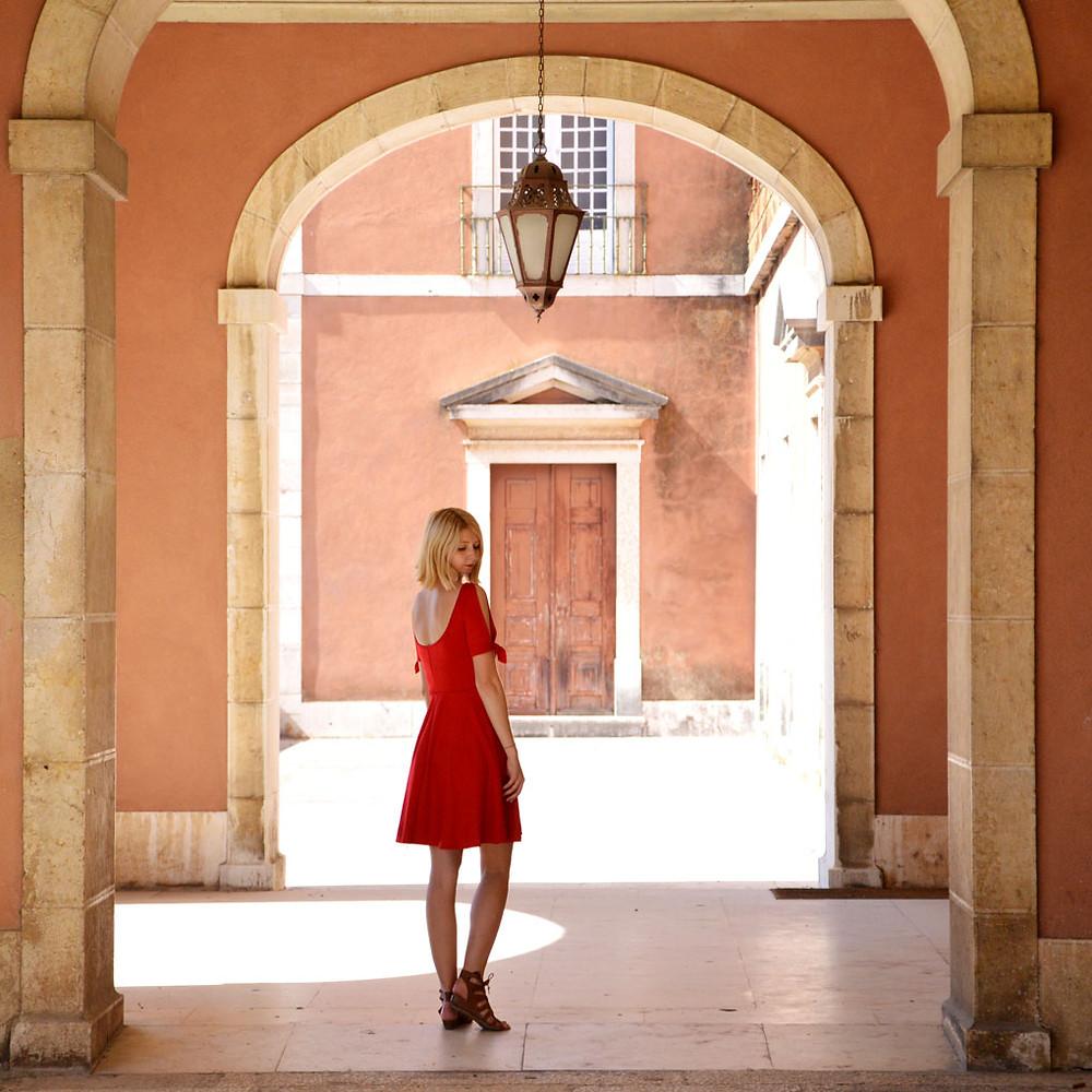Red scoop neck sun dress