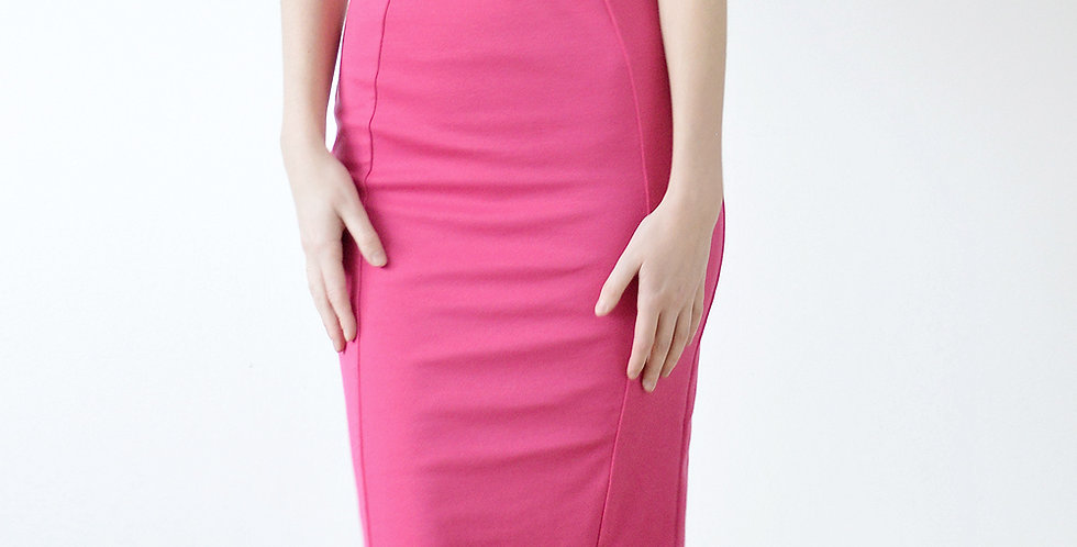 Vintage Pin Up Style Wiggle Pencil Skirt in Hot Pink front view
