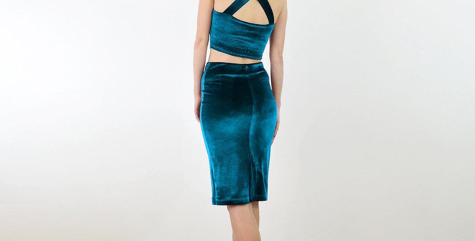 KIRSTEN | Teal Velvet Crop Top and Pencil Skirt Two Piece Set