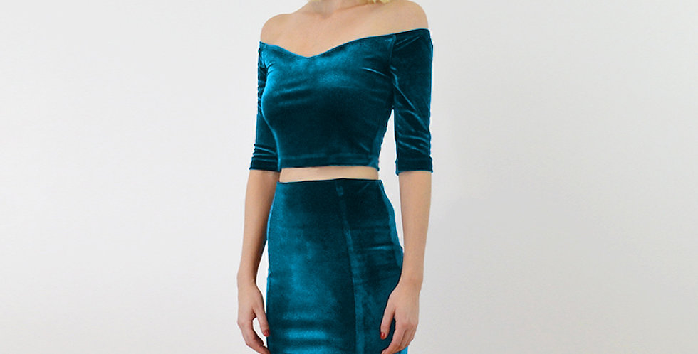 Teal Velvet Two Piece Dress Set