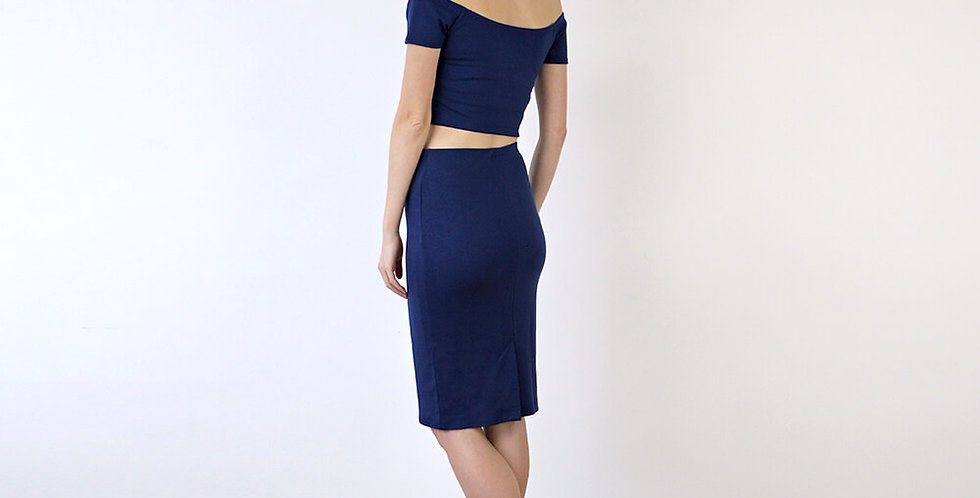 Audrey Off Shoulder Crop Top Dress in Navy full back view