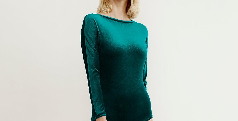 Long Sleeve Green Velvet Bodysuit