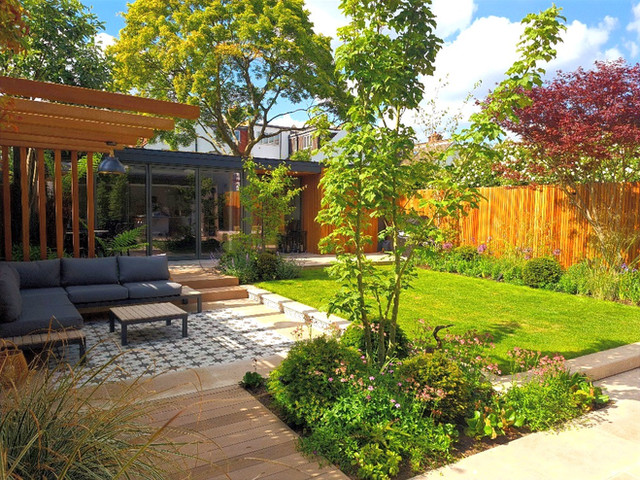 Large Family Garden with Stunning Pergola and Garden Room Office