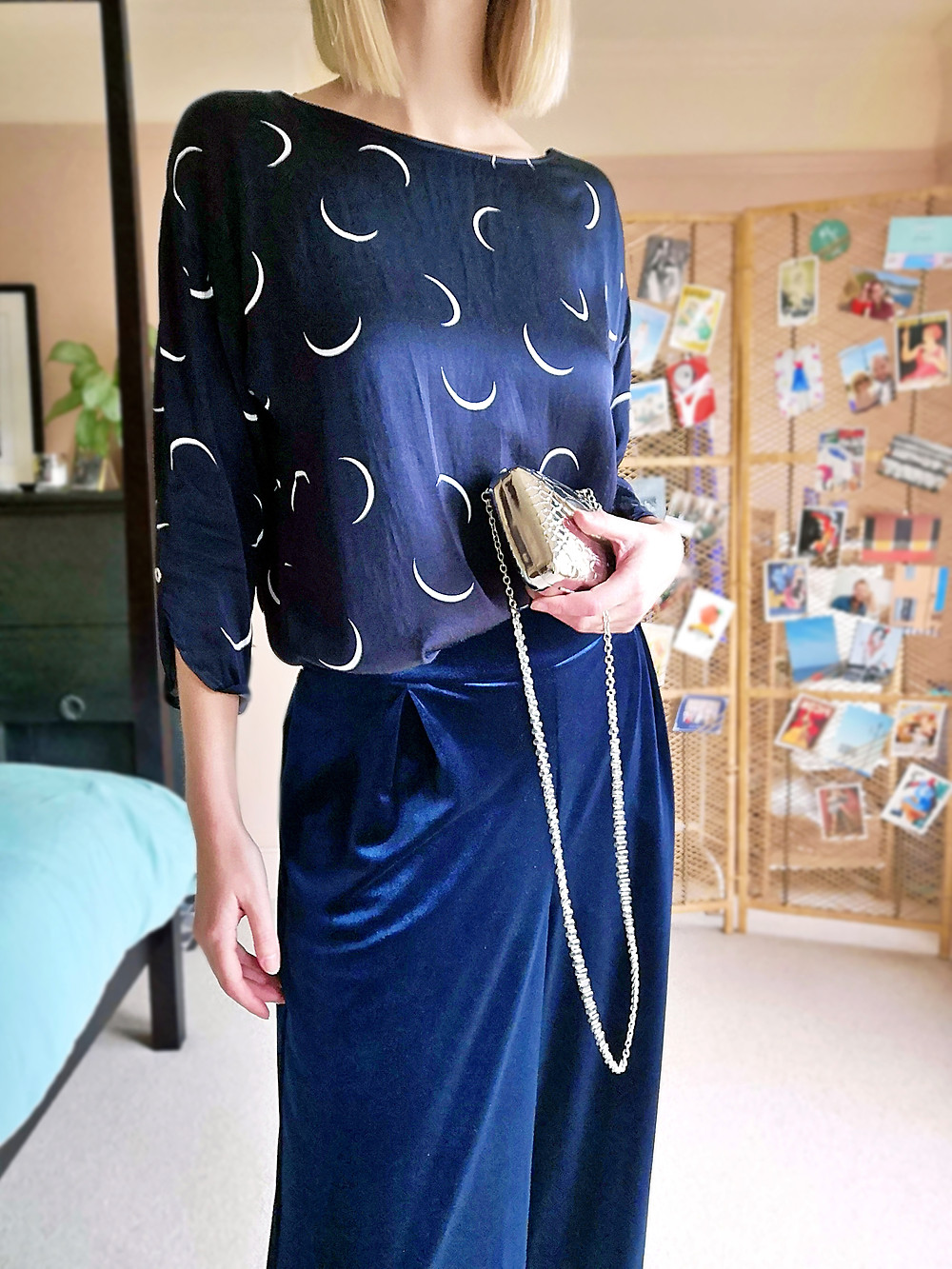 Going out outfit with velvet wide leg trousers and silky blouse