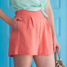 Coral pink linen shorts