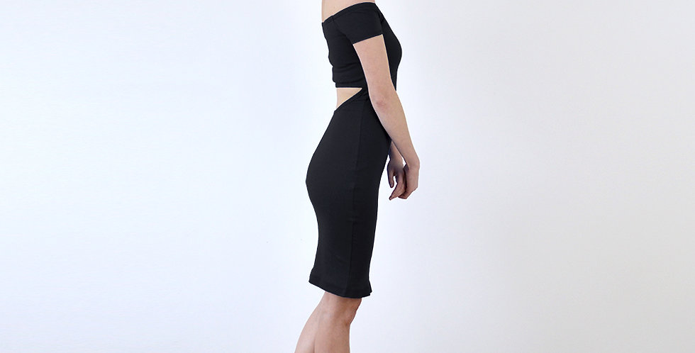 Bardot Vintage Style Off Shoulder Pencil Dress in Black full side view