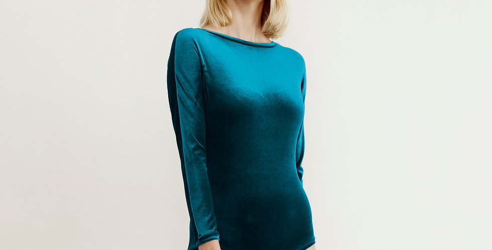 Blue Velvet Long Sleeved Women's Bodysuit