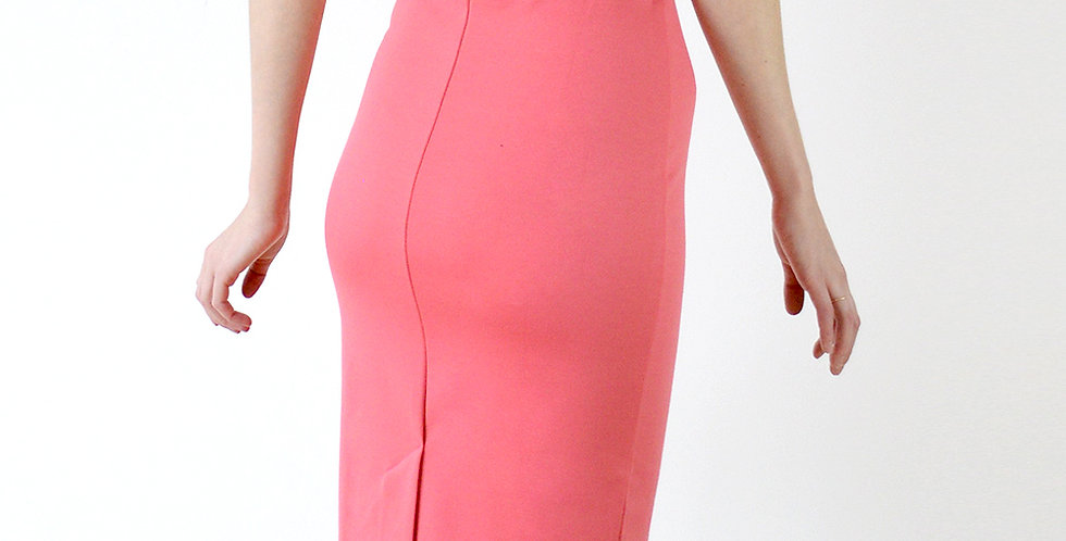 Classic High Waist Fitted Pencil Skirt in Coral Pink back view